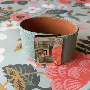 Seafoam leather envelope cuff bracelet